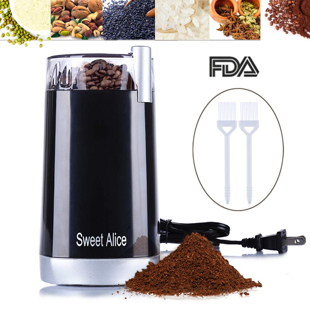 JOYY Fresh Grind Coffee Grinder Electric Blade Grinders with Large Grinding Capacity for Spices, Herbs, Nuts, Grains and More + 2 Brush