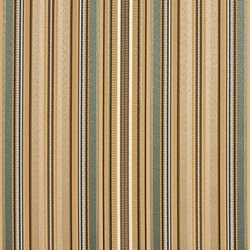 B0160F Green Light Blue And Gold Shiny Thin Striped Silk Satin Look Upholstery Fabric By The Yard Light Blue Striped Satin