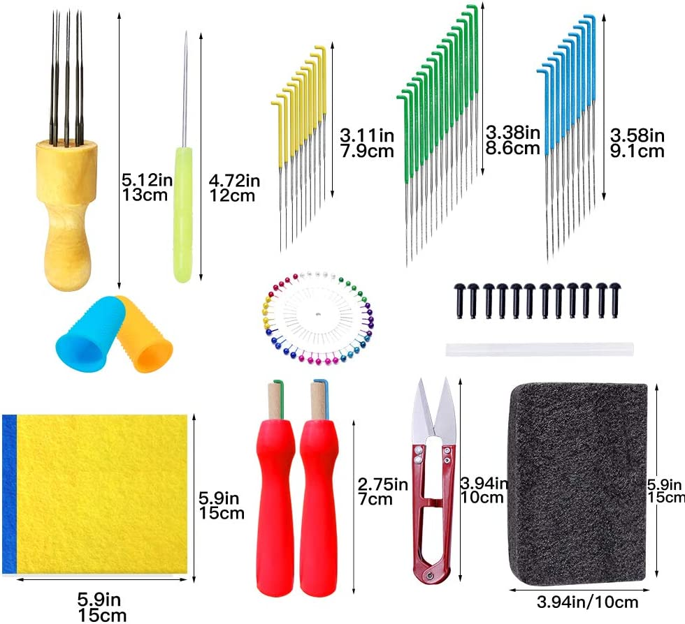 Felting Mat Needle Felting Tool Needle Felting Kit Felting Needles Awl and Other Felting Accessories for Needle Felting Finger Cots Felt Fabric Sheet Wet Felting and Wool Painting