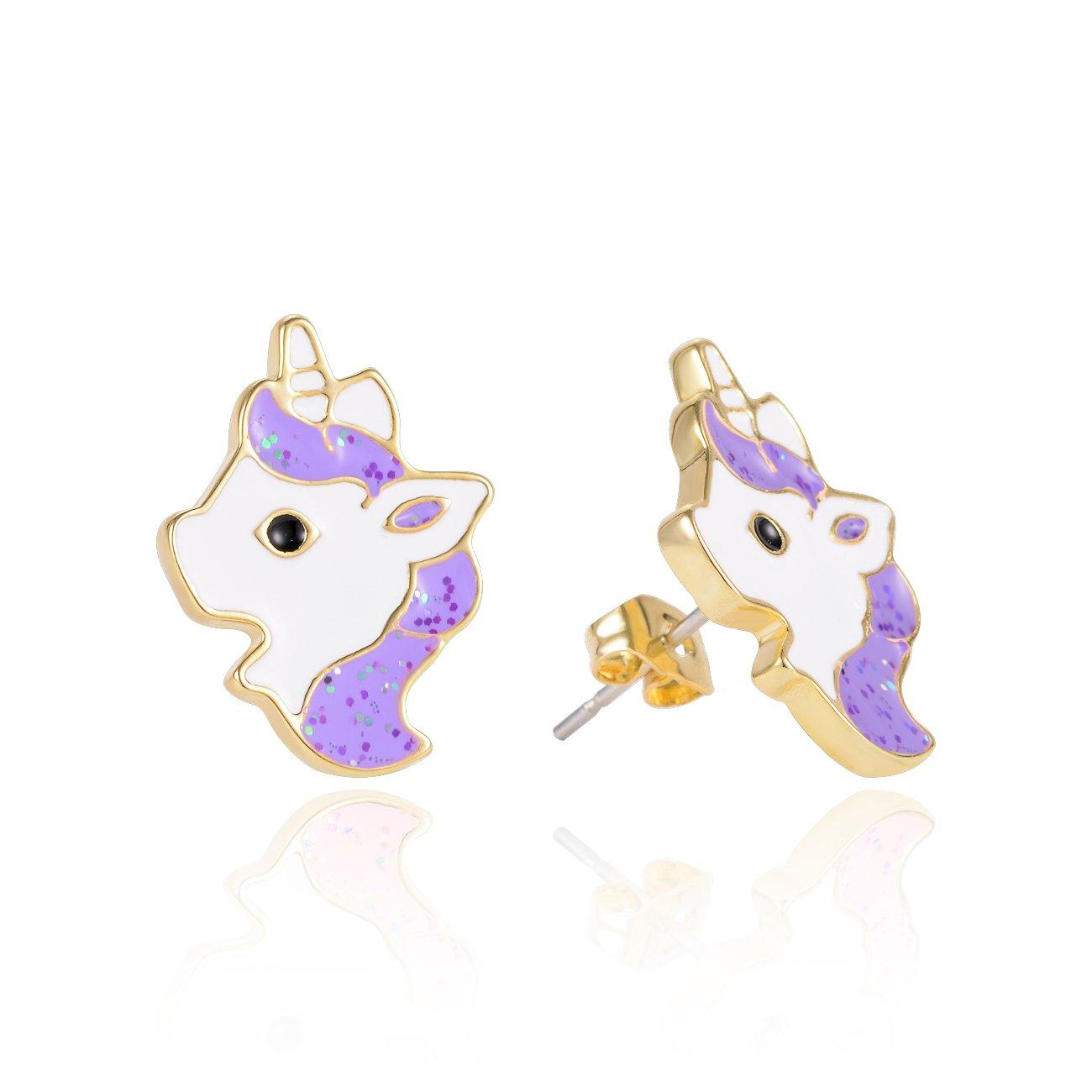 smalto colorati in placcato oro VU100 orecchini brillanti per bambini con motivo con unicorno