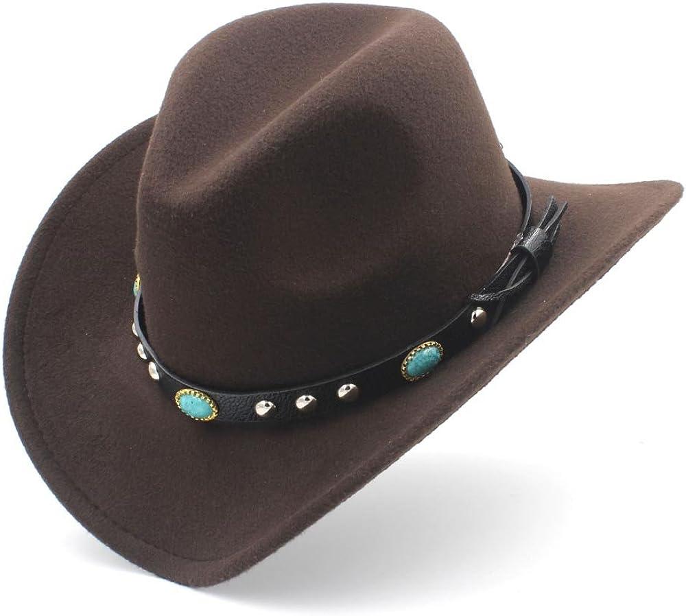 MUMUWU Womens Western Cowboy Hat with Roll Up Brim Felt Cowgirl Sombrero Caps