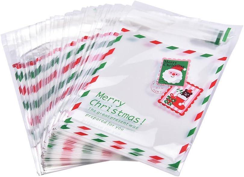 Demarkt 100 Pcs Sacs /à Bonbons Auto-adh/ésif Transparent Sac Cadeau Plastique Mignons Timbres Pochette Sac Biscuit pour D/écoration Cookies Bonbons Chocolat G/âteau Mariage Anniversaire No/ël