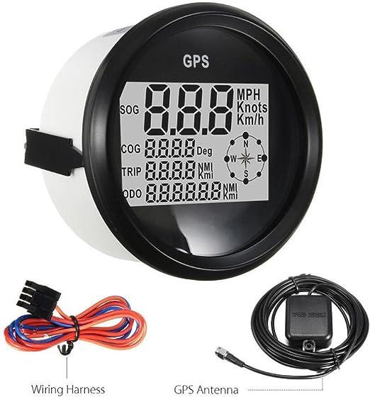 Nrpfell Medidor de Veloc/íMetro Digital de 85 Mm Barco 0-999 Nudos mph//H Indicador de Velocidad GPS Ajustable Ajuste Barco Moto Coche Negro