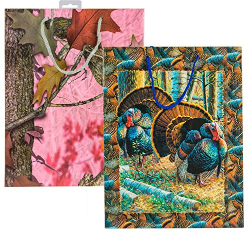 River's Edge Gift Bags for the Outdoor Enthusiast, Pink Camo with Turkey