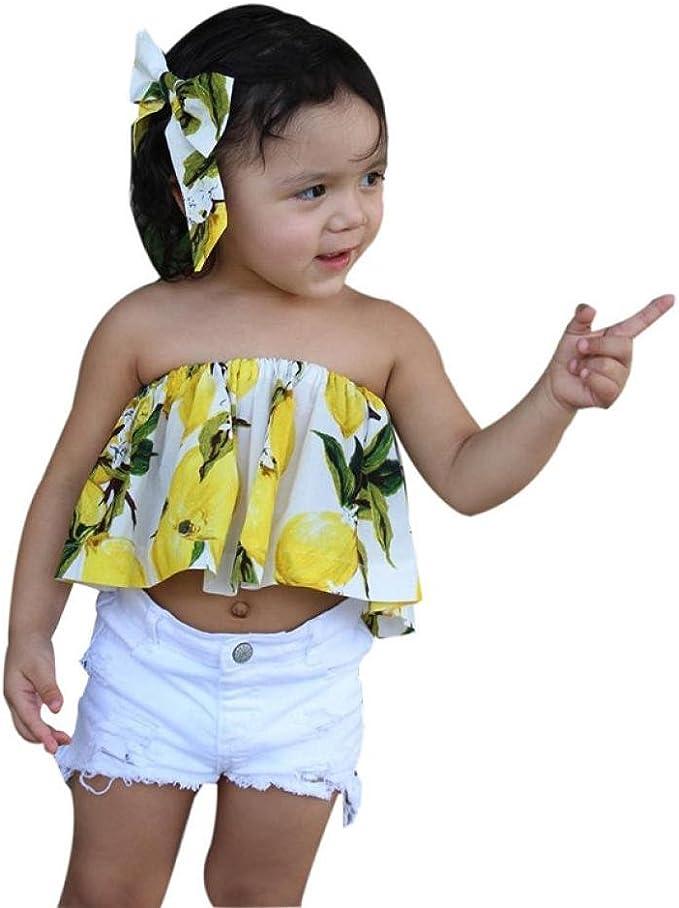 SHOBDW Conjunto Rope para Bebe niña Verano Hombro Camisa para Niñas sin Tirantes Blusa Moda Tops para Chica Pantalones Cortos+Blusa +Venda: Amazon.es: Ropa y accesorios