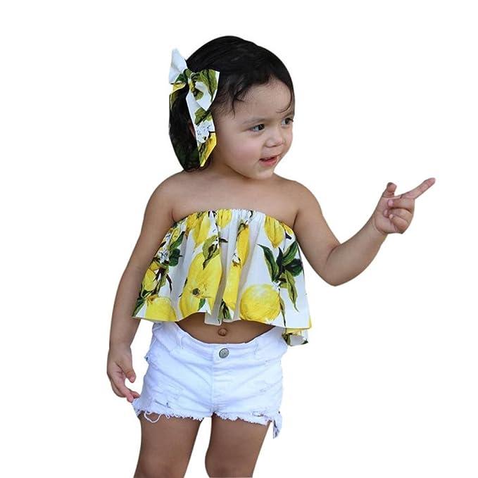 Conjunto Rope para bebe niña verano SHOBDW Hombro Camisa para Niñas sin tirantes blusa moda Tops