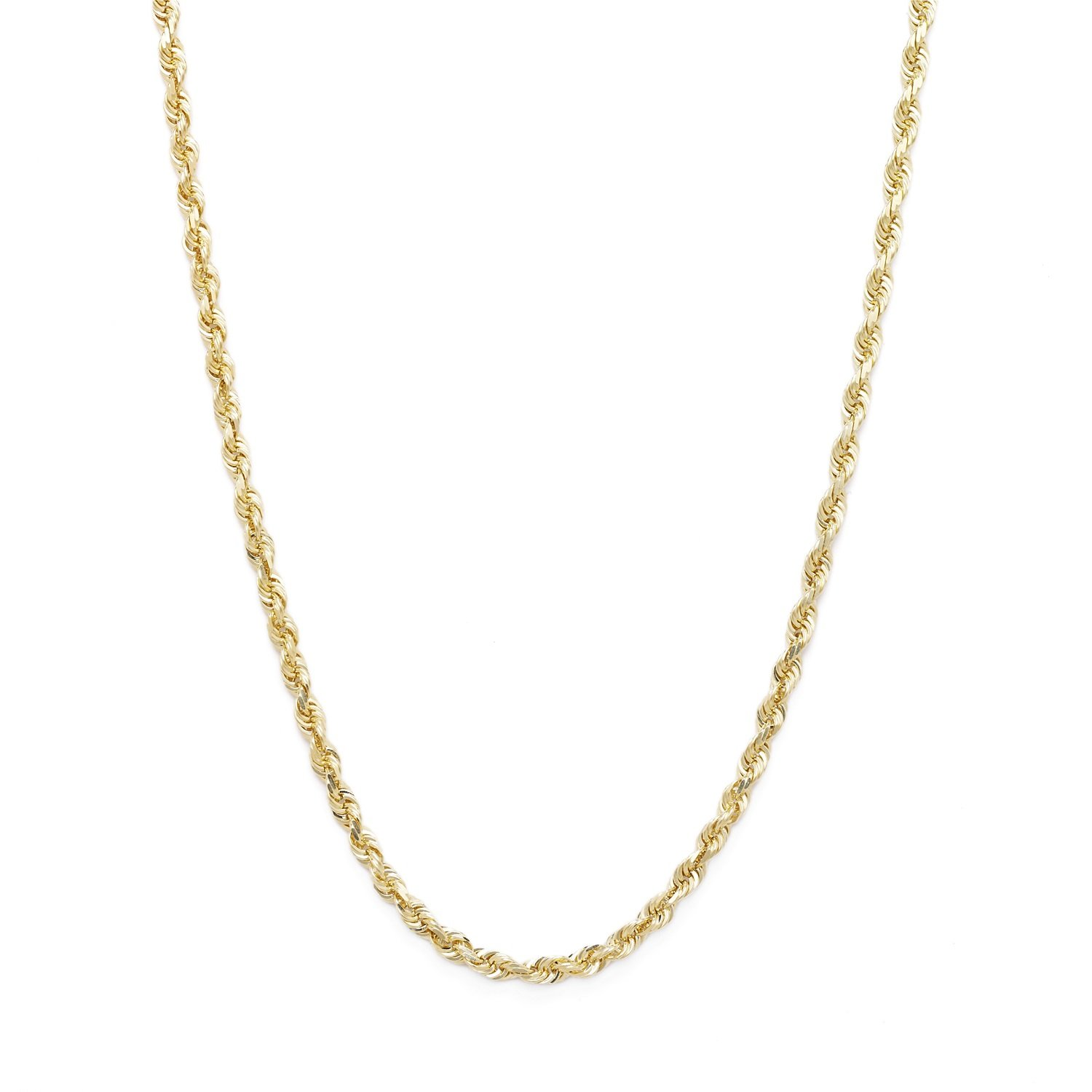 26 Inch 10k Yellow Gold Solid Diamond Cut Rope Chain Necklace, 2mm