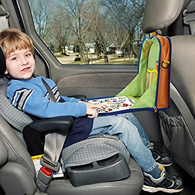Kids Backseat Organizer - HOMPOT Car Seat Travel Tray, Portable Waterproof Play Food Tray, iPad Kindle or Other Tablet Holder, Great for Road Trips and Air Travel, Writting Surface Age 3+