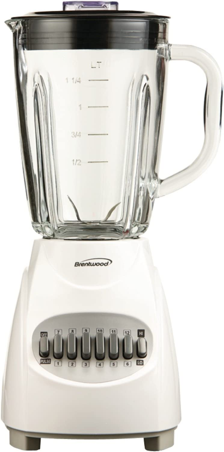 Brentwood Blender with Glass Jar, 12-Speed + Pulse, White