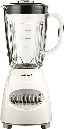 Brentwood jb-920 W aparatos 12-speed licuadora con jarra de cristal, color blanco: Amazon.es: Hogar