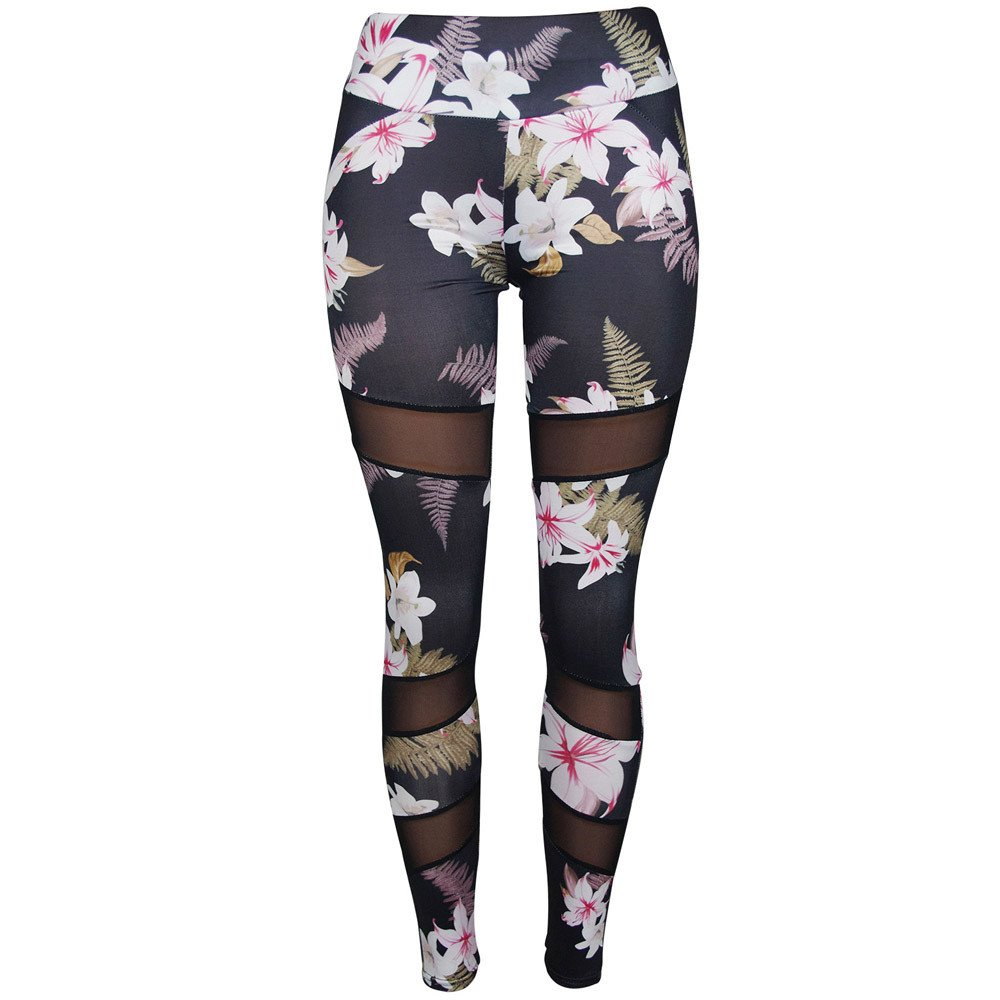 Dressffe Fitness & Sports, High Waist Ankle-Length Pants Yaga Pants for Women, Athletic Pants Breathable suit for Workout Leggings Fitness Sports Gym Running Floral Printed Trousers Pencil Pants (S)