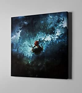 "Cortesi Home Travel is Dangerous by Mario Sanchez Nevado Giclee Canvas Wall Art, 18"" x 18"", Blue"