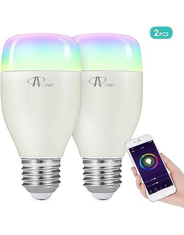 Bombilla Wifi, ACCEWIT Bombilla LED inteligente RGB Multicolor 7W E27 Control de Voz, 650LM