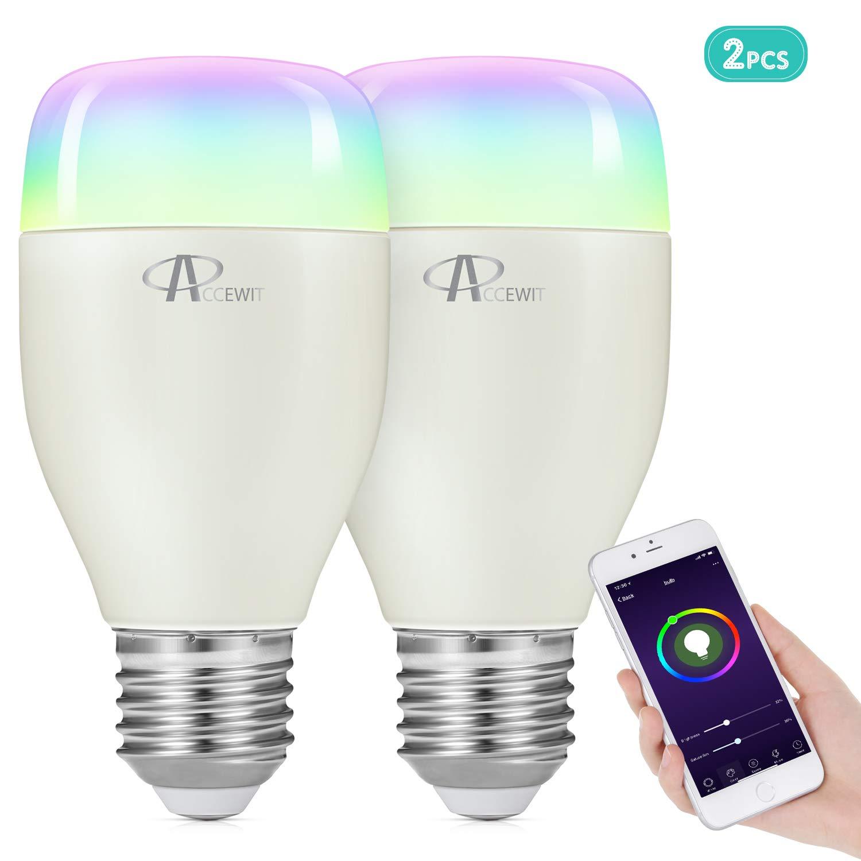 Wifi Smart Birne, ACCEWIT Wlan LED Dimmbar RGBW Glü hbirne 7W E27 Smart Lampe, 650LM Smarthome Birne mit App Fernbedienung, kompatibel mit Google Home und  Alexa fü r Sprachsteruerung-2 Stü ck