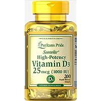 Puritan's Pride Vitamin D3 1000 IU Softgels, 200ct