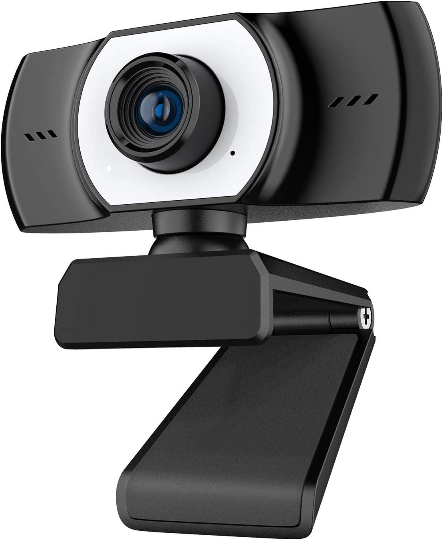 ieGeek PC Webcam con micrófono, cámara Web Full HD 1080P USB 3.0 para videollamadas, Estudio, Conferencia, grabación, diseño Plegable y Giratorio de 360 °, micrófono con cancelación de Ruido
