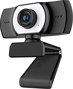 ieGeek 1080P Webcam with Microphone, FHD Live Streaming Camera, USB Webcam w/Mic for Computer PC Desktop Laptop, 90° Wide Angle Lens & Rotatable Base for Video Calling, Recording, Conferencing