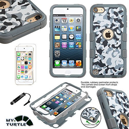 MyTurtle Shockproof Hybrid 3-Layer Hard Silicone Shell Cover with Stylus Pen and Screen Protector for iPod Touch 5th 6th Generation, Urban Camouflage Grey (Touch Case Camouflage Ipod)