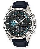 Casio EDIFICE Reloj en caja sólida de acero inoxidable, 10 BAR, Azul/Negro, para Hombre, con Correa de Cuero, EFR-556L…