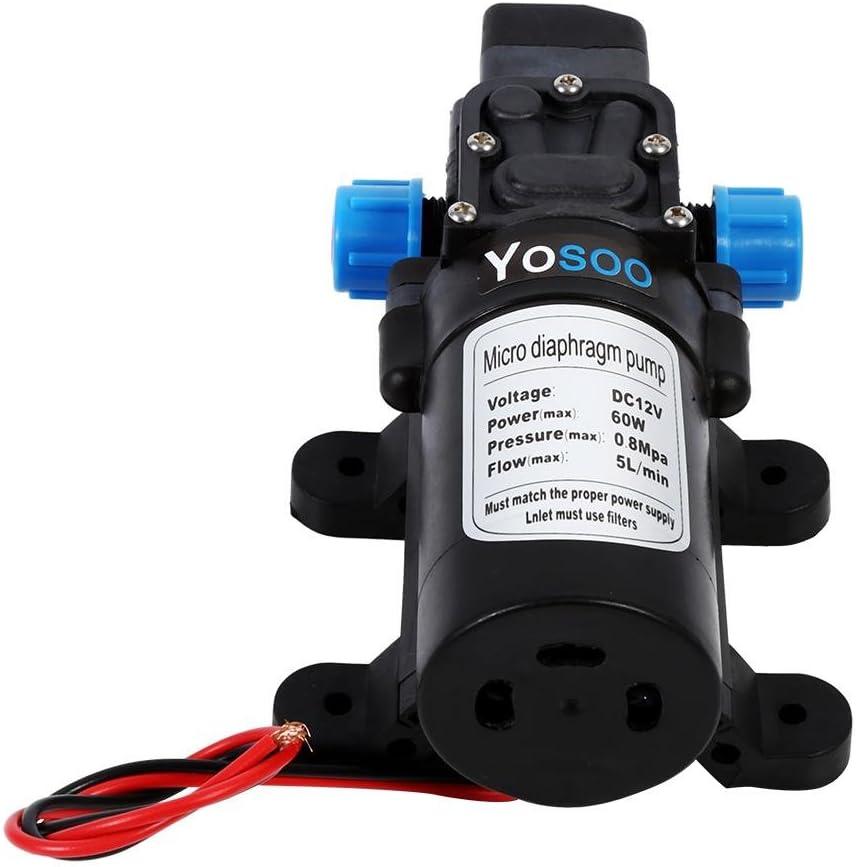 12/V 60/W 5L//min Bomba de alta presi/ón bomba de membrana Bomba de agua Bomba de alta presi/ón