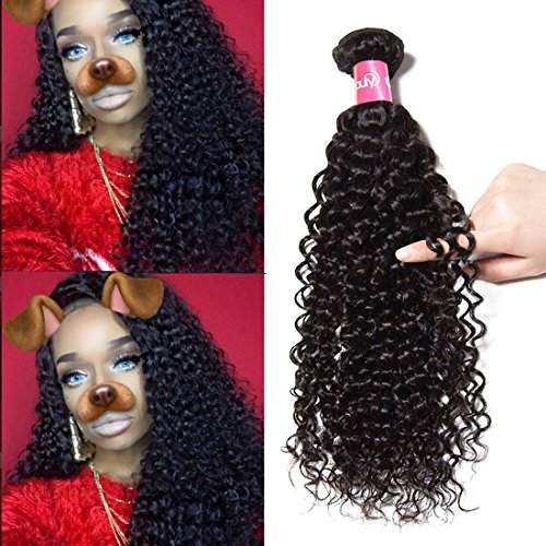 Longqi Beauty Unprocessed Brazilian Curly Virgin Hair 1 Bundles Remy Brazilian Sexy Curly Virgin Human Hair Extensions (14, Natural Color)