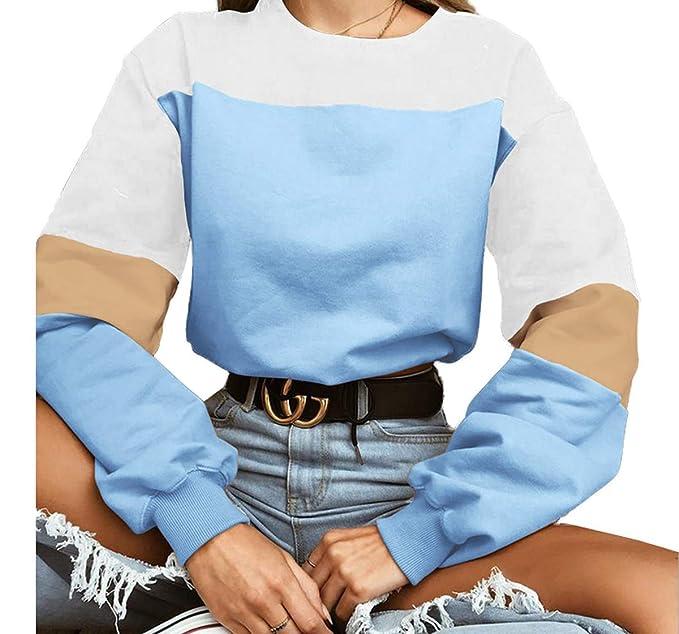 Primavera Otoño Mujeres Corto Sudaderas Joven Moda Cuello Redondo Blusa de Manga Larga Sweatshirt Jerseys con Vendaje Casual Patchwork Pulóver Jumpers ...