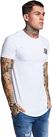 Sik Silk - Modelo SS-10891, Hombre Hem curva Logo Gimnasio de la camiseta, Negro