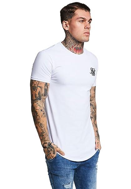 Sik Silk Hombre Hem curva Logo Gimnasio de la camiseta, Blanco: Amazon.es: Ropa y accesorios