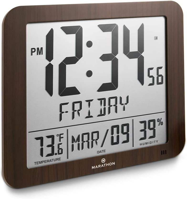 """Marathon CL030067WD Slim Atomic Full Calendar Clock with Large 3.25"""" Digits, Indoor Temperature and Humidity. Batteries Included. Color- Wood Tone"""