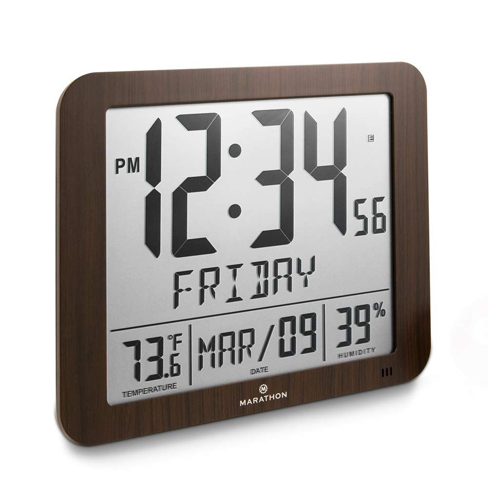 Marathon CL030067WD Slim Atomic Full Calendar Clock with Large 3.25'' Digits, Indoor Temperature and Humidity. Batteries Included. Color- Wood Tone by Marathon