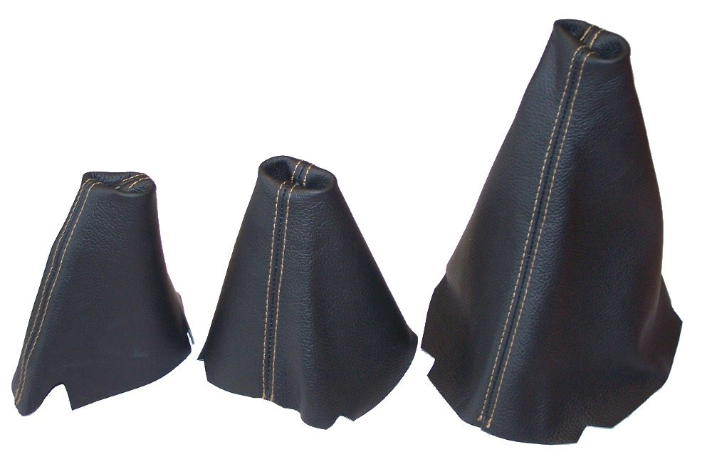 SET OF 3 GAITERS CUSTOM MADE BOOTS BLACK GENUINE ITALIAN LEATHER with BEIGE STITCHING The Tuning-Shop Ltd
