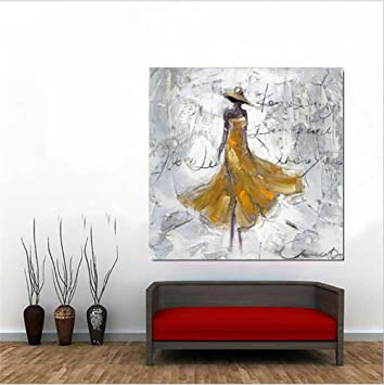 Schon Ölgemälde Wand Hintergrund Malerei Wand Kunst Dekoration Frau Im Gelben  Kleid Hand Bemalt Gemälde Auf Leinwand