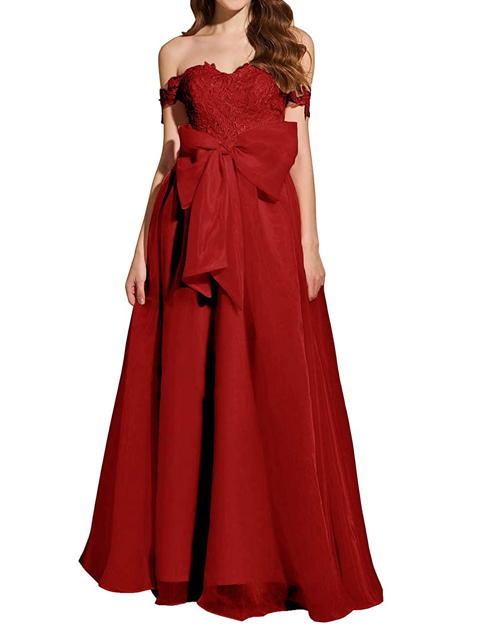 Burgundy Uther Formal Prom Dresses Off The Shoulder Appliques Long Evening Party Gowns Organza