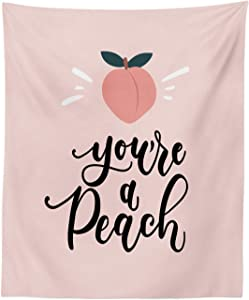 """Ambesonne Fruit Tapestry, You're a Peach Typography and Leaves Healthy Food in Pastel Tones, Fabric Wall Hanging Decor for Bedroom Living Room Dorm, 23"""" X 28"""", Coral Pale Eggshell and Taupe"""