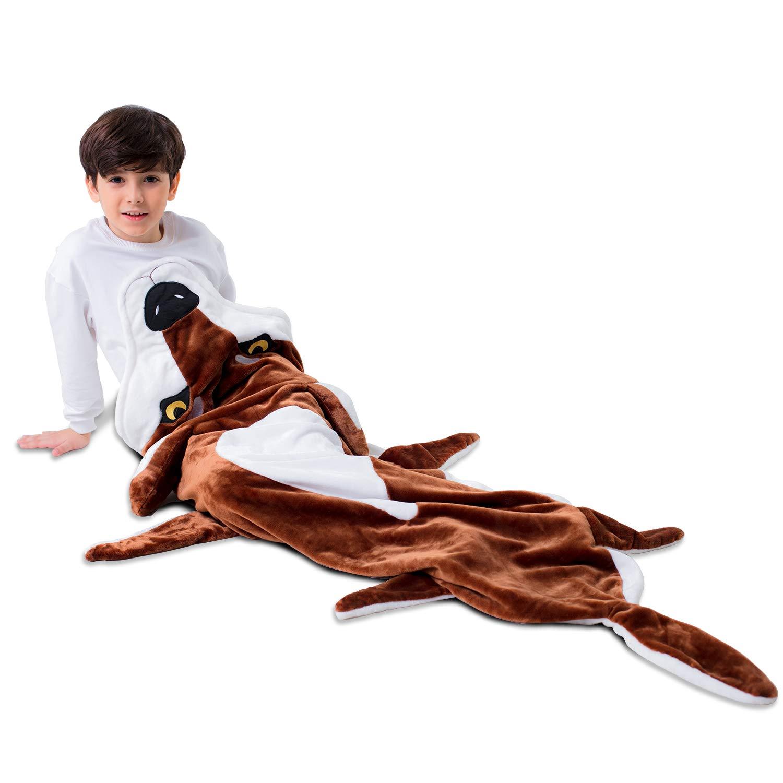 wolf tail blanket for boys Kids,Pocket Style Mermaid Tail Blanket Premium Quality Softest Flannel Fleece Blankets Kids Sleeping Bag Kids Wolf Design Warm Comfortable Sleep Sacks Blanket for Kids