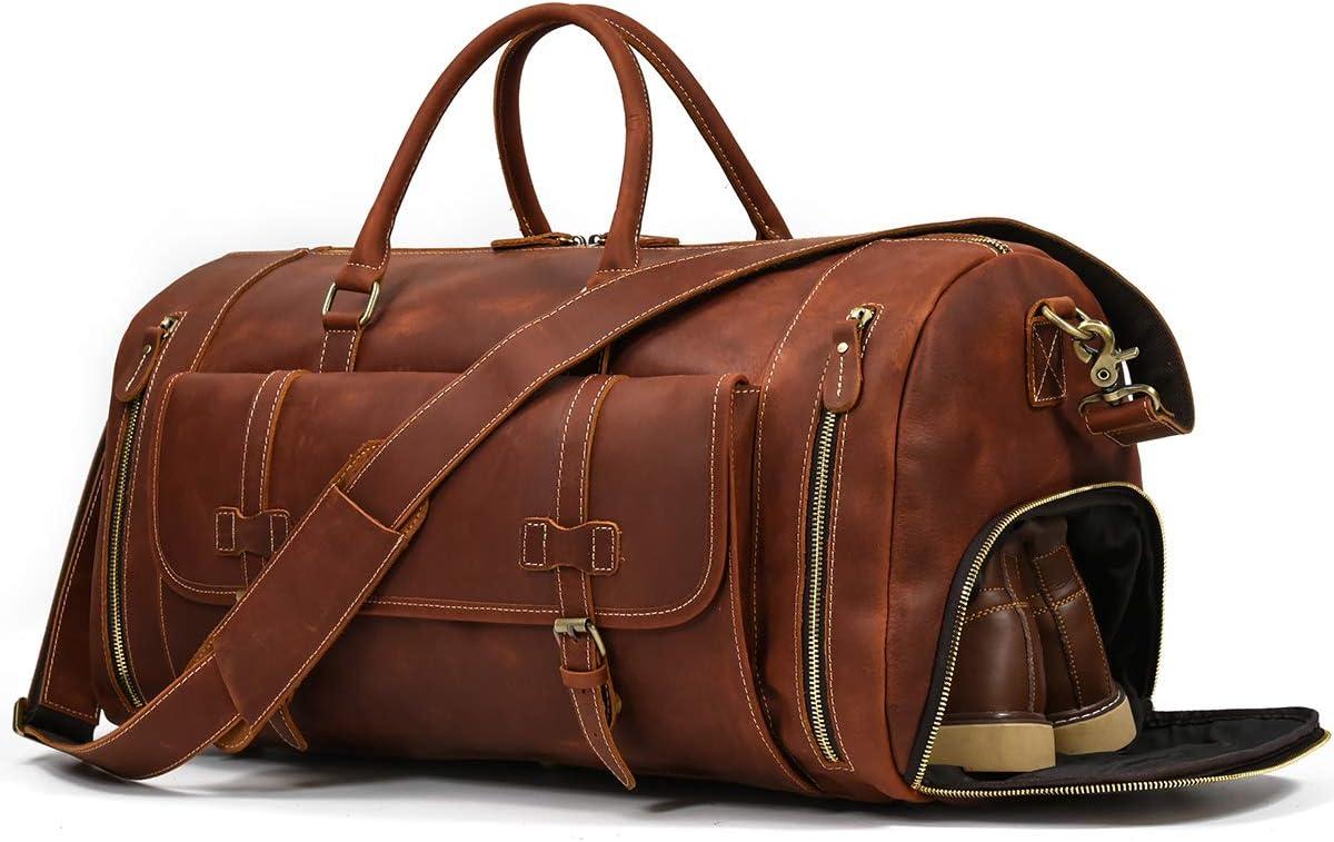 LUUFAN Bolso De Viaje Nocturno De Cuero Genuino para Hombres Bolso de Lona Bolsa de Fin de Semana Vintage de Alta Capacidad (Light Brown-58cm)