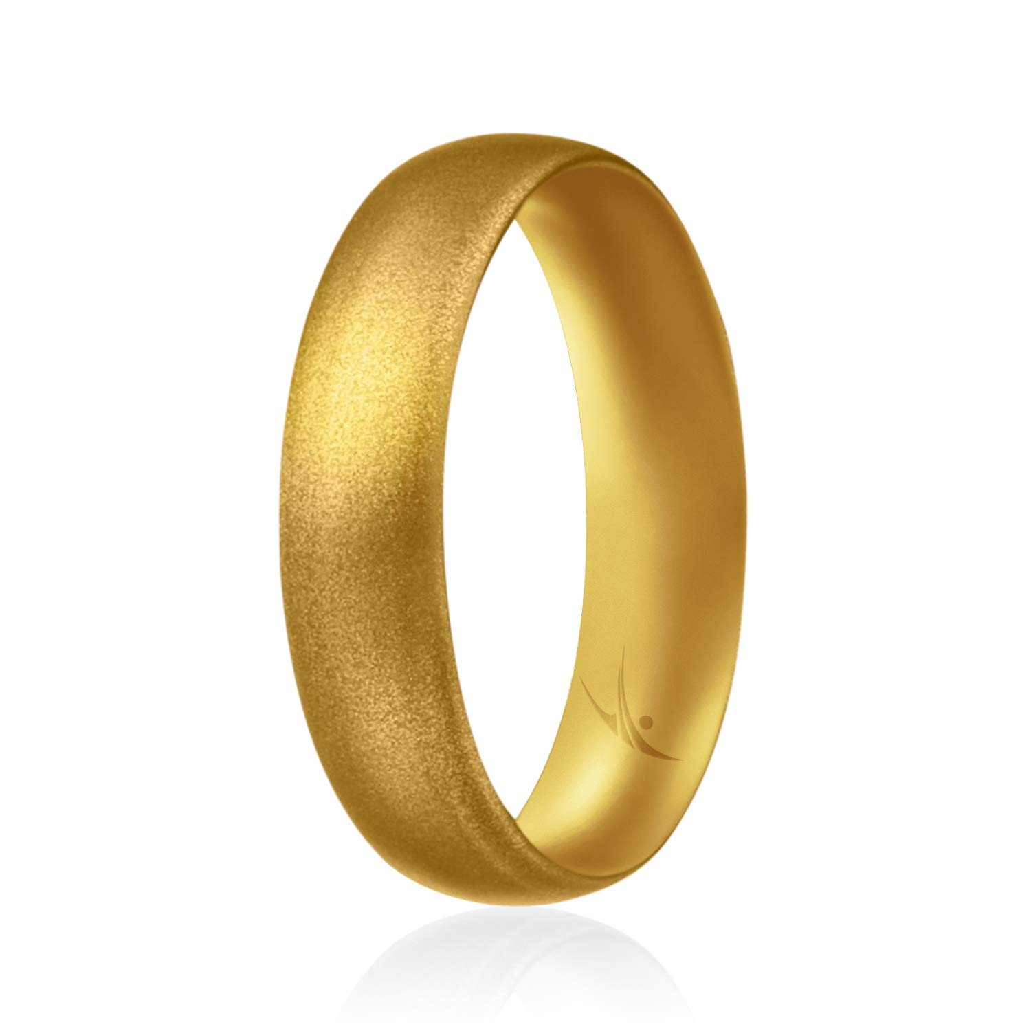 ROQ Silicone Wedding Ring for Women Thin Affordable 6mm Metallic Silicone Rubber Wedding Bands Comfort Fit Singles & 4 Packs - Rose Gold Silver Gold Platinum Copper Bronze Gunmetal