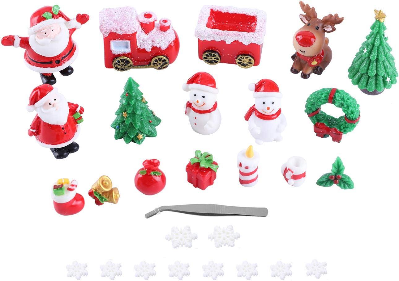 28pcs Christmas Miniature Ornament Kits Fairy Garden Miniatures Figurines Accessories for DIY Dollhouse Decoration, Resin Christmas Tree Snowman Santa for Micro Landscape Ornaments Xmas Party Decor