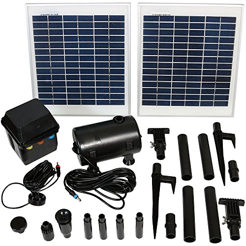 Sunnydaze Outdoor Solar Pump and Panel Fountain Kit with Battery Pack and LED Light, 396 GPH, 120-Inch Lift
