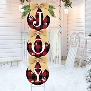 Six Senses Media Christmas Decorations-Double Side Print Joy Yard Signs Set -Happiness Rustic Burlap Buffalo Plaid Wreath Christmas Decorations Outdoor Home Lawn Pathway Walkway