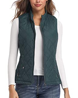 Dilgul Womens Gilets Stand Collar Bodywarmer Lightweight Quilted Vest Jacket Padded Waistcoat Zip Up Pockets