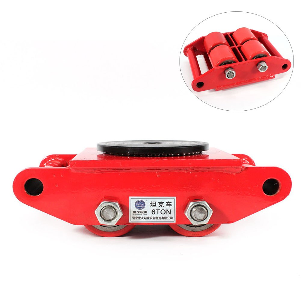 Machinery Mover,360 Degree Rotation Cap 6 Ton Capacity Industrial Dolly Machinery Skate Mover Roller Dolly with 4 Polyurethane wheels (Red)