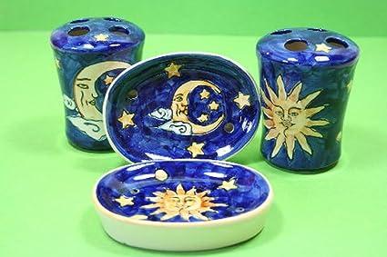 2 Juegos de baño 4 piezas cerámica - el sol y la luna jabonera para cepillos