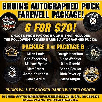 Boston Bruins Signed Autographed Puck Farewell Package 6 for $70 PACKAGE - Autographed Packages
