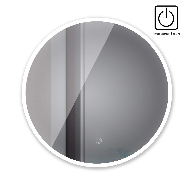 sogoo® Nuova Generazione 21W Circum 60cm (∅) Specchio rotondo a parete bagno con illuminazione LED, Specchio design contemporaneo intelligente con interruttore touch e funzione memoria, luce bianco naturale [Classe di efficienza energetica A+] Design Sim