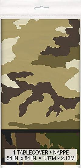 Mantel de Plástico - 2,13 m x 1,37 m - Fiesta de Camuflaje Militar: Amazon.es: Juguetes y juegos