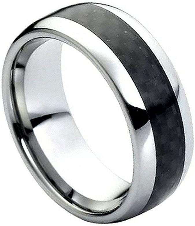 Titanium Polished w//Black Carbon Fiber Inlay 6mm Band Size 9.5 Length Width 6