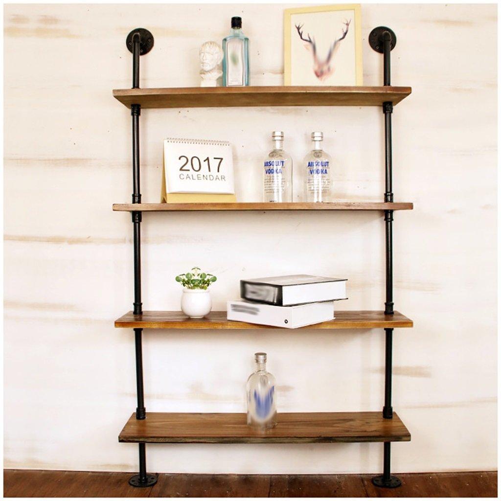 壁掛けシェルフ 水パイプフローティング装飾棚ラック、レトロLOFT壁掛け立て棚シェルフフレーム金具収納スタンド/キッチン/バー/リビングルーム/レストランの本棚 (サイズ さいず : 4 Tiers) 4 Tiers  B0792QZZPK