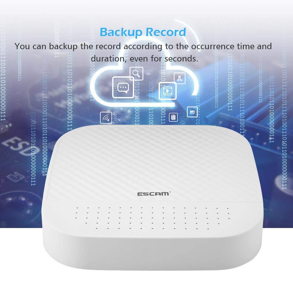 Enchufe de la UE Soporte para tel/éfonos Inteligentes 4 2 Canales NVR Cloud Channel Grabador de Video en Red Disco Duro VCR para Sistema de c/ámara IP Grabador de Video en Red