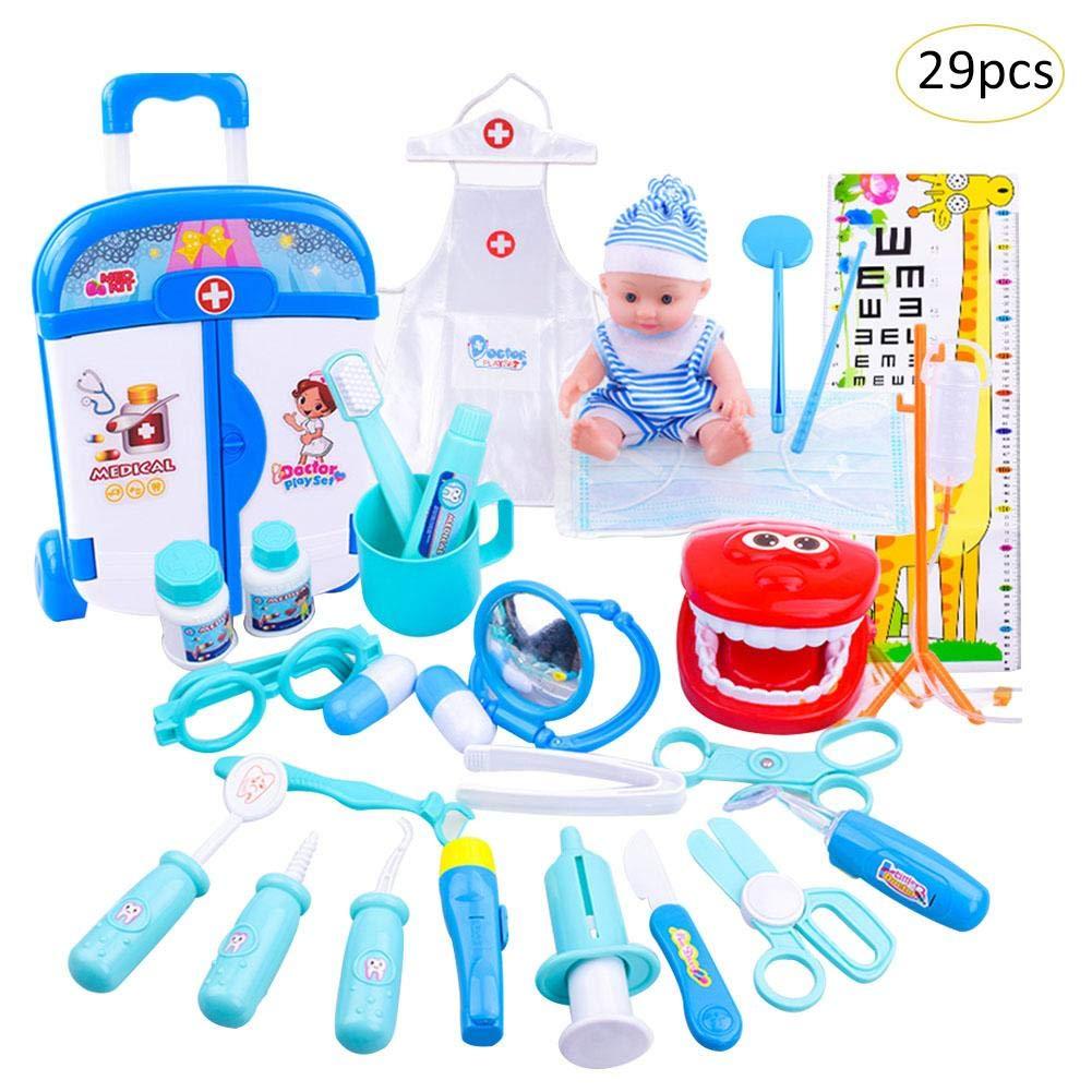 Lembeauty pour Enfant Jeu de rôle Jouet kit simulée Chariot Medical Kit d'injection de bébé Stéthoscope Médecine Box Doctor Kit de Jouet pour garçons et Filles
